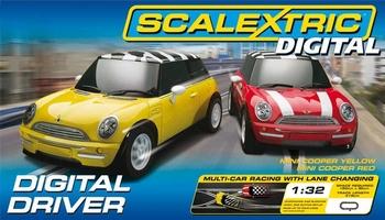 scalextric Digital driver Mini cooper rood en geel  1/32