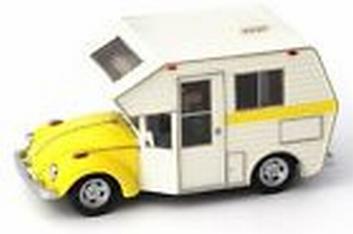VW Volkswagen Beetle Kever Camper Caravan Mobilhome Geel  1/43