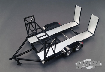 Auto Trailer zwart black aanhangwagen  1/18