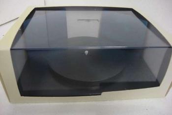 Vitrine box helder met zwarte draai tafel en 2 spiegels  1/43