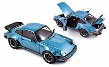 Porsche 911 turbo 3,3 1977 Blauw metallic blue  1/18