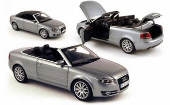 Audi A4 Cabriolet Zilver Silver + soft top   1/18