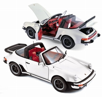 Porsche 911 Turbo Targa Cabrio Wit  White  1/18