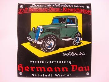 Hanomag Diesel 12 x12 cm Emaille