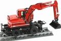 Liebherr A900c zw spoorweg kraan rood + rails 1/50