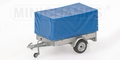 Trailer 1 axle with Canvas  aanhangwagen met huif en 1 as 1/43