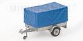 Trailer 1 axle with Canvas  aanhangwagen met huif en 1 as 1/43