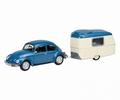 VW Vokswagen Kever + Puck camper - Caravan 1/43