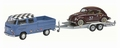 VW Volkswagen T2 Word of Beetles + tailer met aanhangwagen 1/43