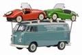 VW Volkswagen + 2 kit cars Blauw rood groen 1/43