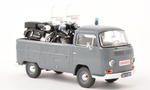 VW Volkswagen T2a Pick up Gendarmerie2 moto's Police Pölitie 1/43