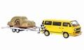 VW Volkswagen T3b Bus + aanhangwagen+ Kever onder huif 1/43