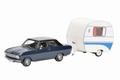 Opel Kadett B Blue Blauw + Caravan  Camper  1/43