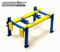 Four post lift werk brug blauw-geel  blue- yellow 1/18