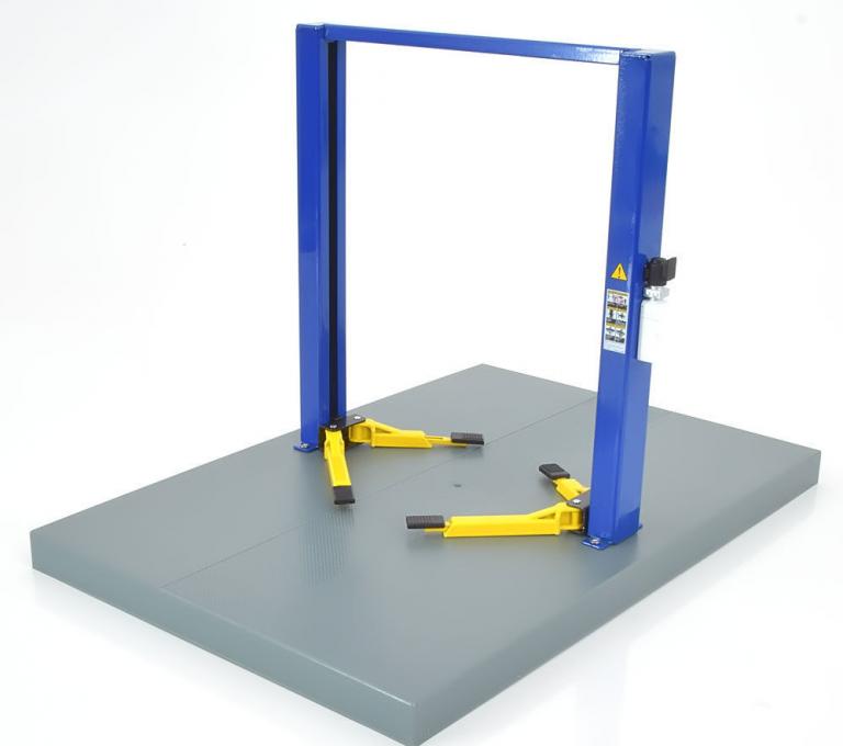 Two post lift werk brug blauw + gele steunen blue- yellow 1/18