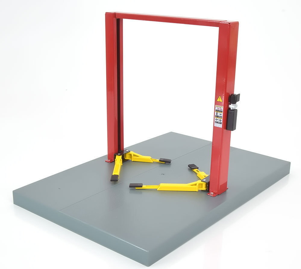 Two post lift werk brug rood+ gele steunen  red- yellow 1/18