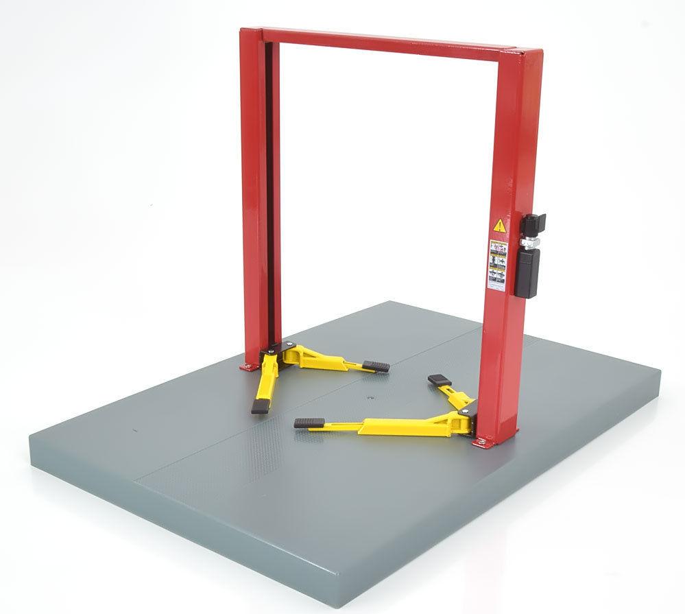 Two post lift werk brug rood+ gele steunen  red- yellow 1/18