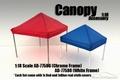Tent canopy prieel rood en blauw zeil  met witte steunen 1/18