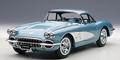 Chevrolet Corvette  1958  blauw  silver blue cabrio+ hardtop 1/18