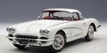 Chevrolet Corvette 1958 Wit snowcrest white Cabrio + hardtop 1/18