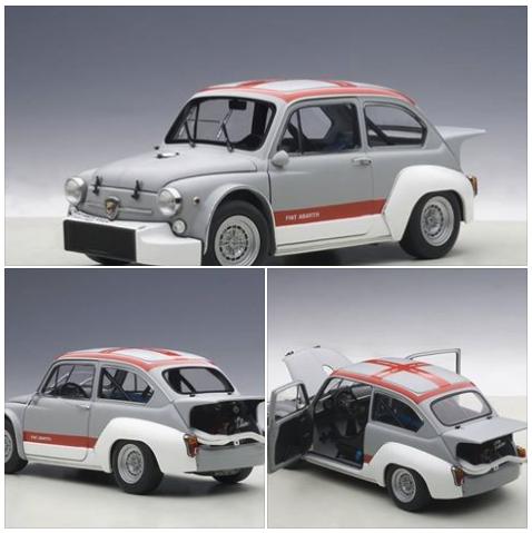 Fiat Abarth 1000 TCR Grijs matt Grey / Rood -Red stripes 1/18