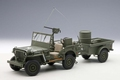 Jeep Willy's mat aanhangwagen  with trailer Groen  Green 1/18