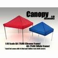Tent canopy prieel rood en blauw zeil met alu- steunen 1/18