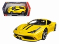 Ferrari 458 Speciale Geel Yellow  Zwarte  Black striping 1/18