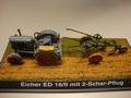 Eicher Tractor ED 16/II met  2 schaar ploeg  1/43