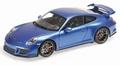 Porsche  911 GT3 Blauw metallic Blue  2013 1/18