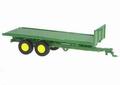 Twin Flat bed trailer platte aanhangwagen Groen Green 1/32