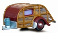 Mini Woody caravan met gas fles  1/43