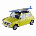 Mini Cooper 1300 Geel Yellow +  surf board 1/24