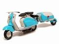Lambretta LD 125 -1956 + aanhangwagen + Trailer Blauw Blue 1/18