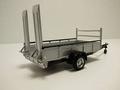 Tow car trailer 2 wielen 2 wheels zilver / silver 1/43