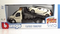 VW Volkswagen Polo Creme + flatbed auto transporter 1/43