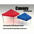 Tent canopy prieel rood en blauw zeil met Chrome  steunen 1/24