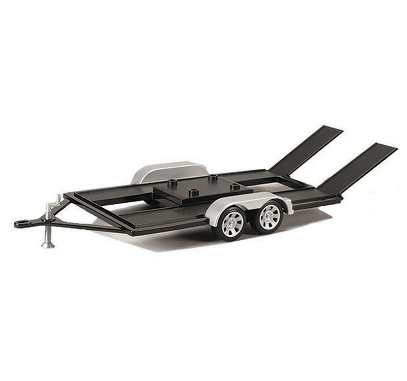 Auto trailer aanhangwagen zwart zilver black silver 1/18