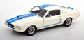 Shelby Mustang GT500 wit - white blue stripes 1/18